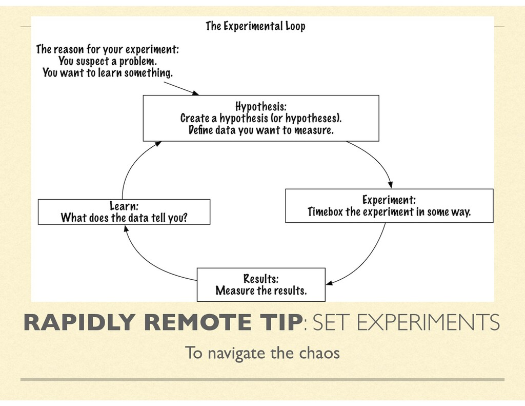 RAPIDLY REMOTE TIP: SET EXPERIMENTS To navigate...