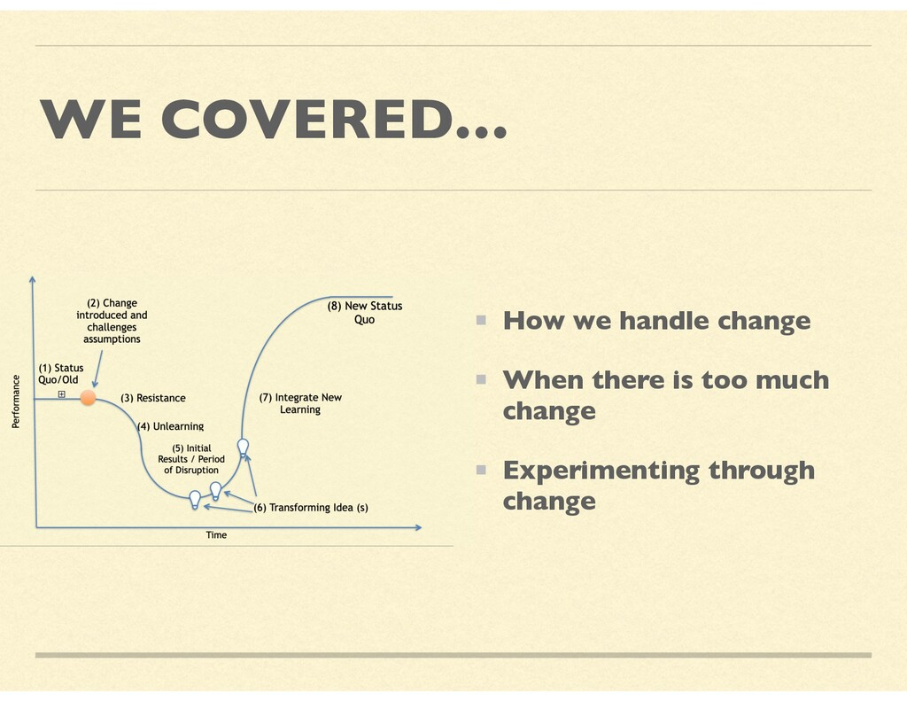 WE COVERED… How we handle change When there is ...