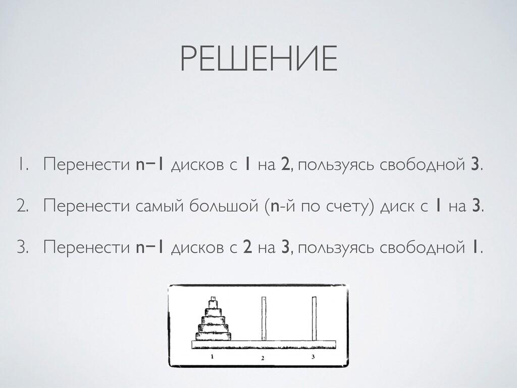РЕШЕНИЕ 1. Перенести n−1 дисков c 1 на 2, польз...