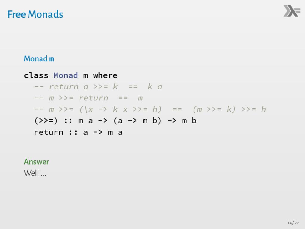 Free Monads Monad m class Monad m where -- retu...