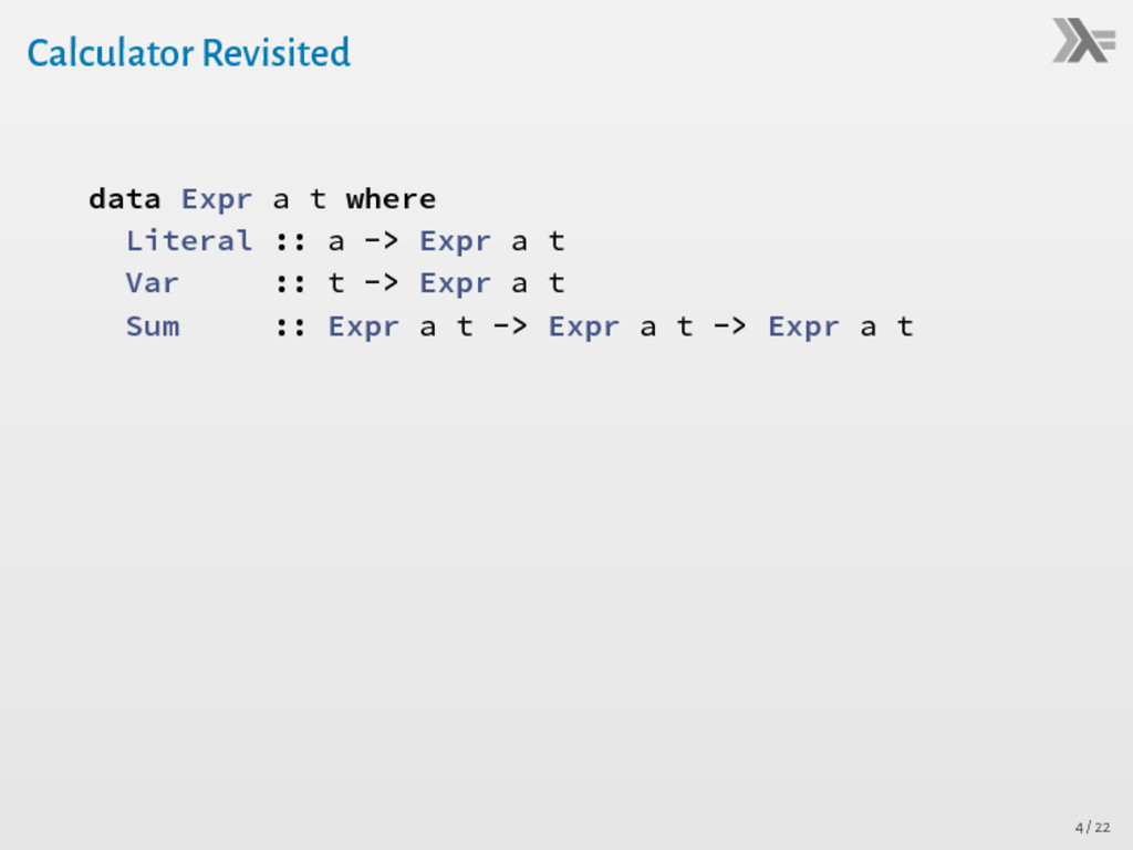Calculator Revisited data Expr a t where Litera...