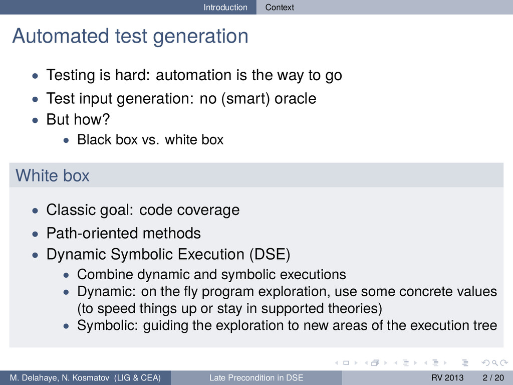 Introduction Context Automated test generation ...