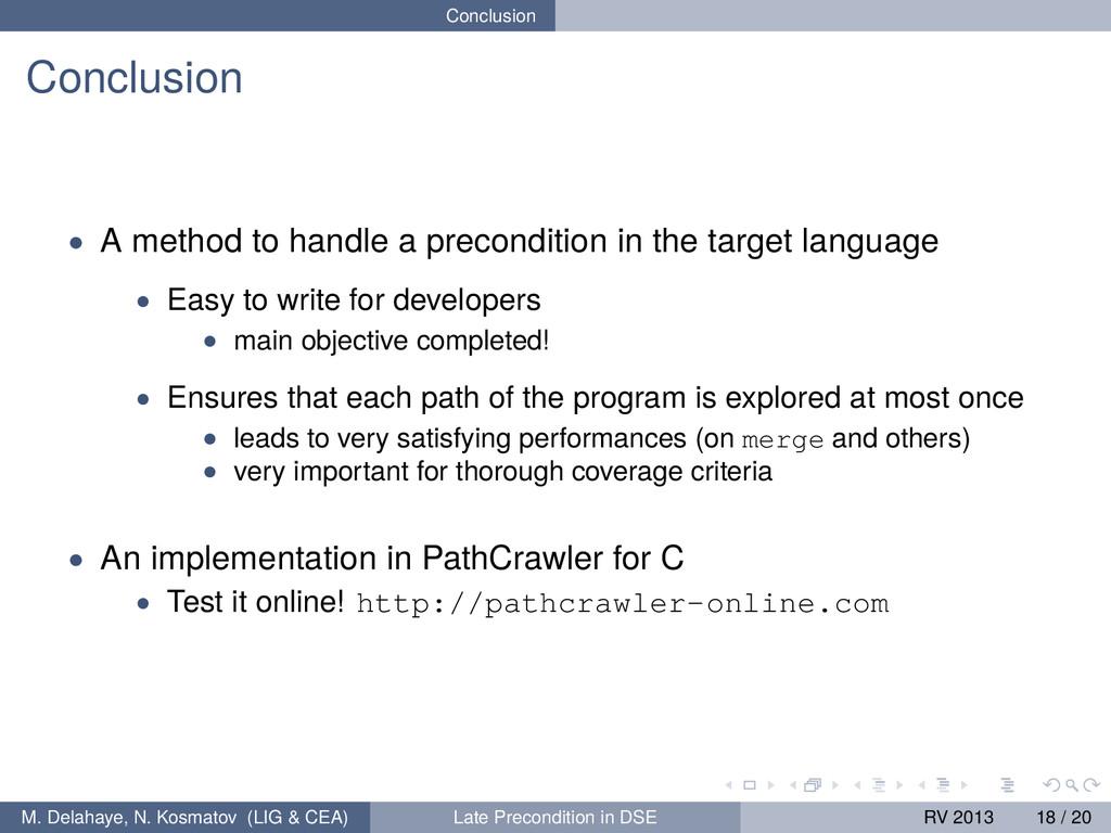 Conclusion Conclusion • A method to handle a pr...