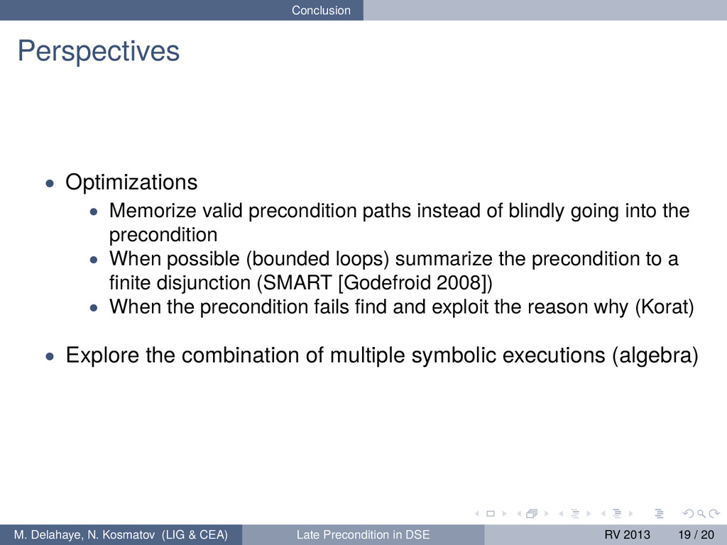 Conclusion Perspectives • Optimizations • Memor...