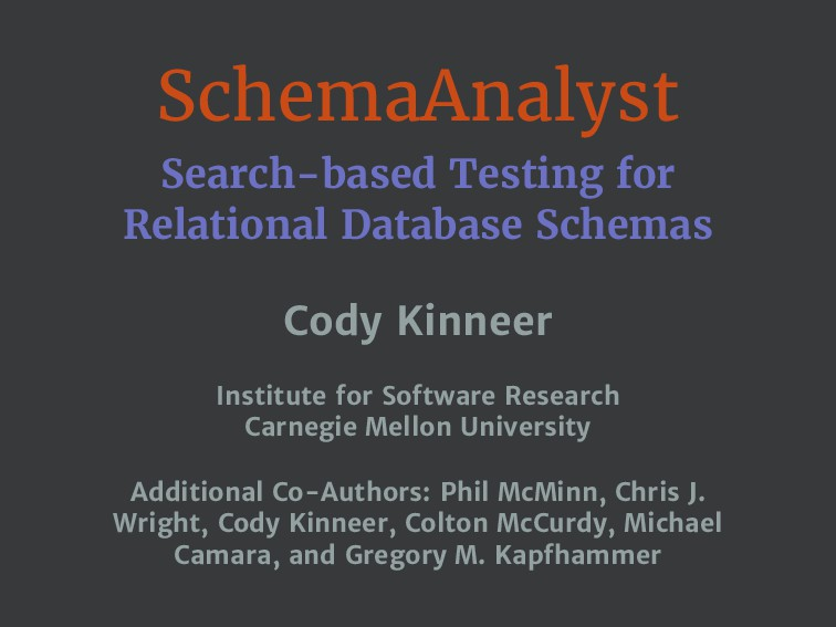 SchemaAnalyst Search-based Testing for Relation...