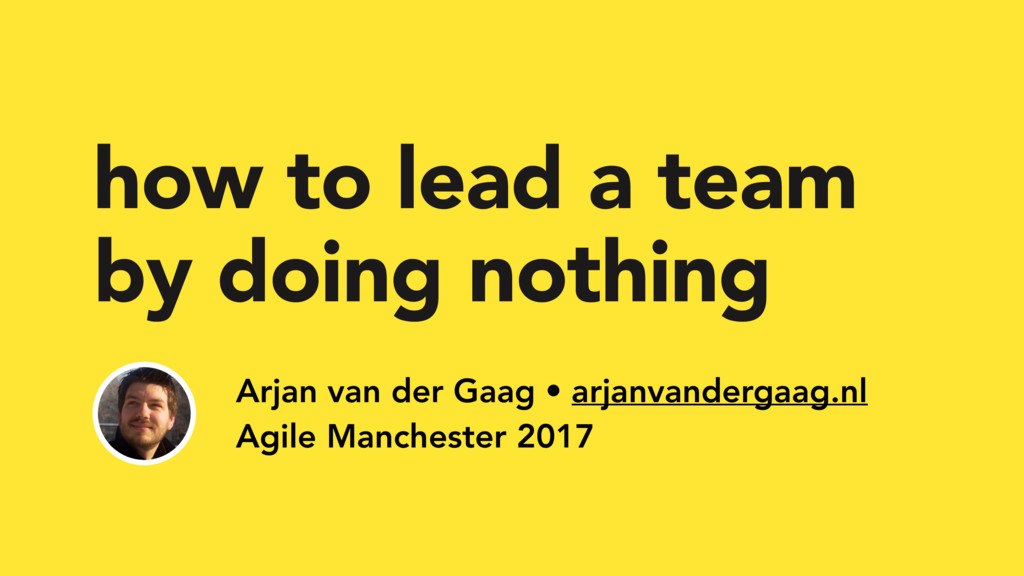 how to lead a team by doing nothing Arjan van d...