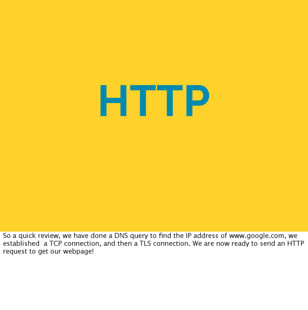 HTTP So a quick review, we have done a DNS quer...