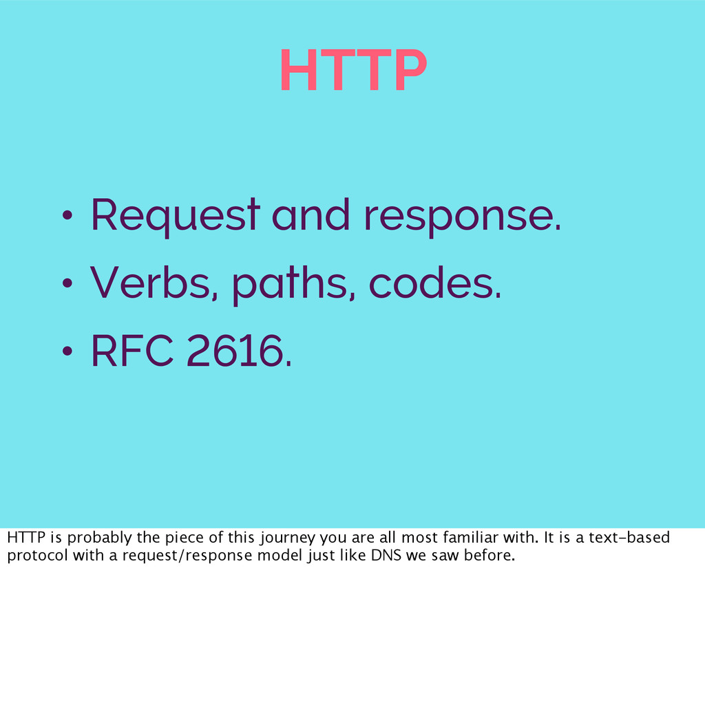 HTTP • Request and response. • Verbs, paths, co...
