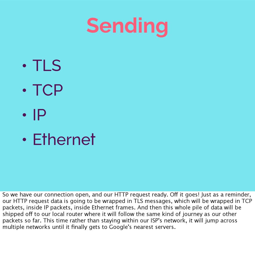 Sending • TLS • TCP • IP • Ethernet So we have ...