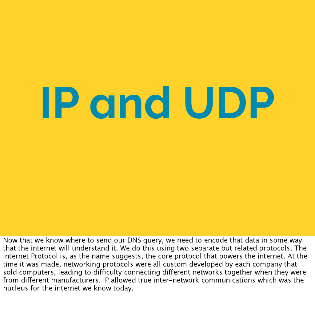 IP and UDP Now that we know where to send our D...
