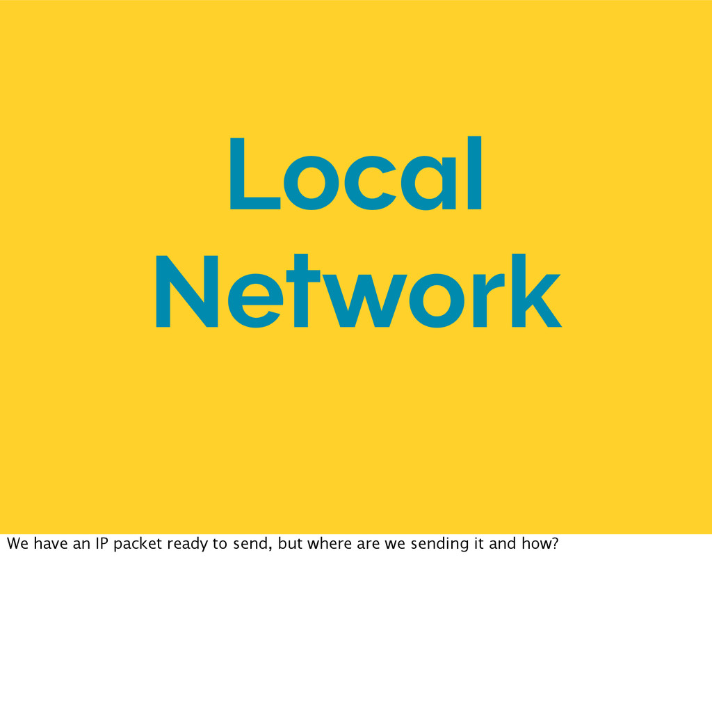 Local Network We have an IP packet ready to sen...