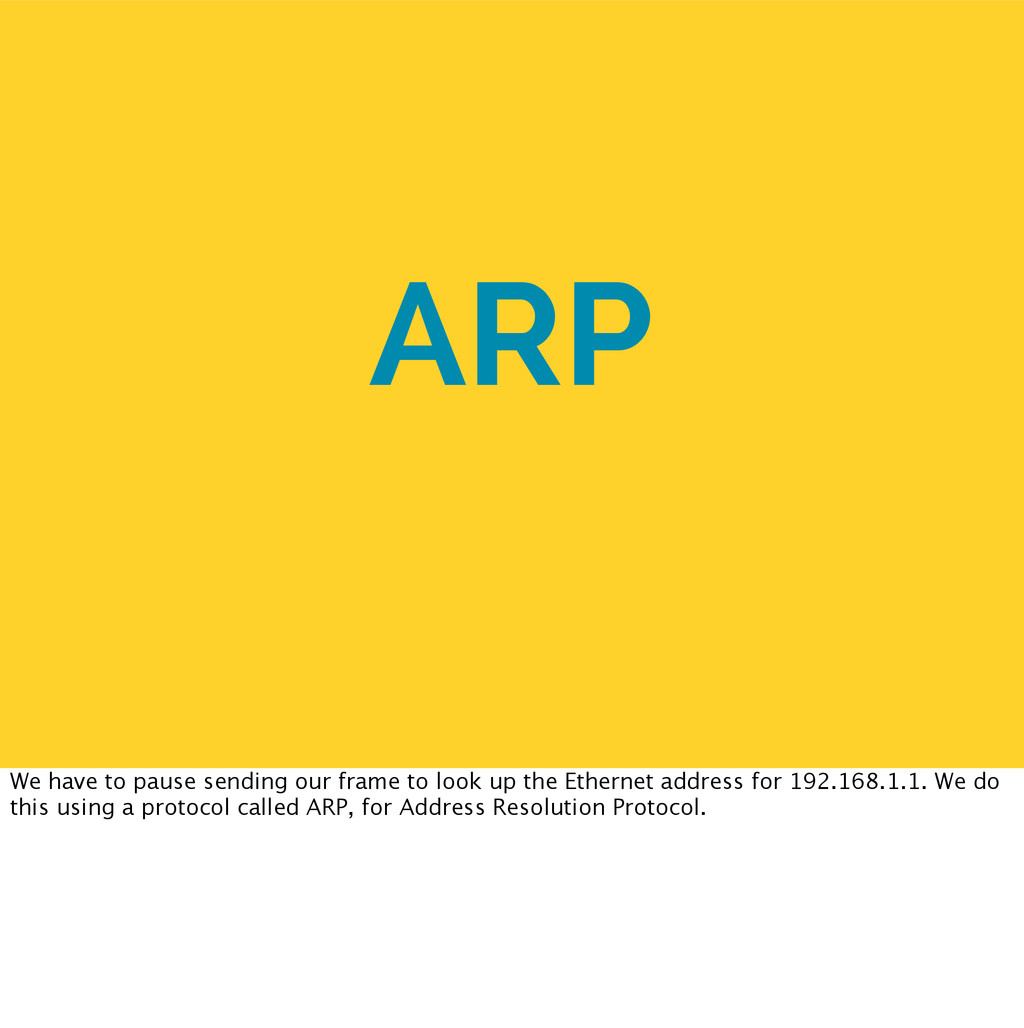 ARP We have to pause sending our frame to look ...