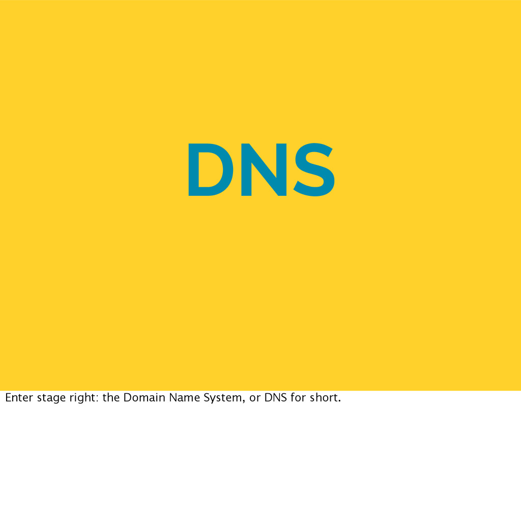 DNS Enter stage right: the Domain Name System, ...