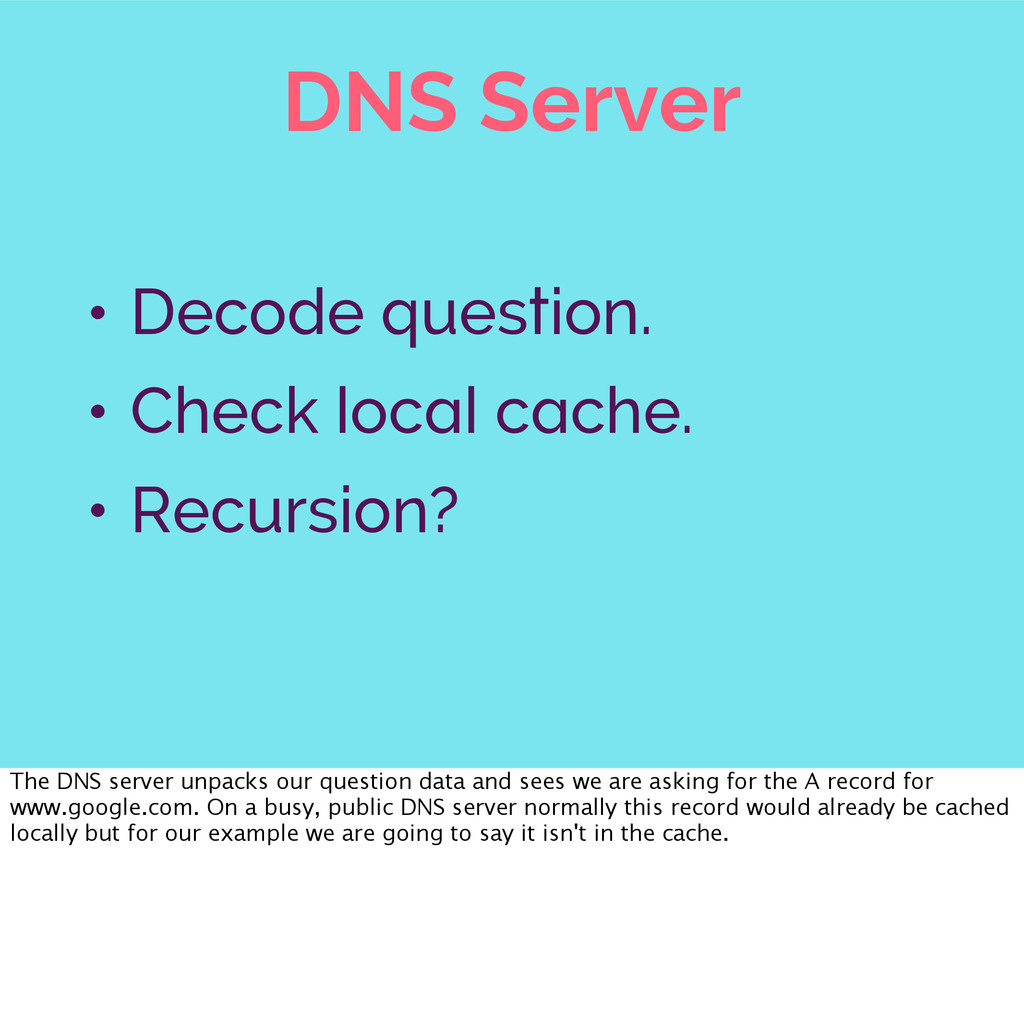 DNS Server • Decode question. • Check local cac...