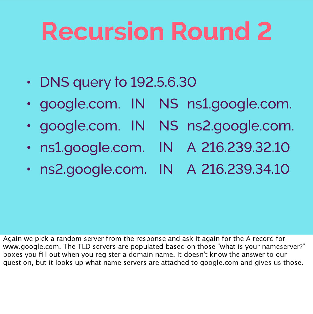 Recursion Round 2 • DNS query to 192.5.6.30 • g...