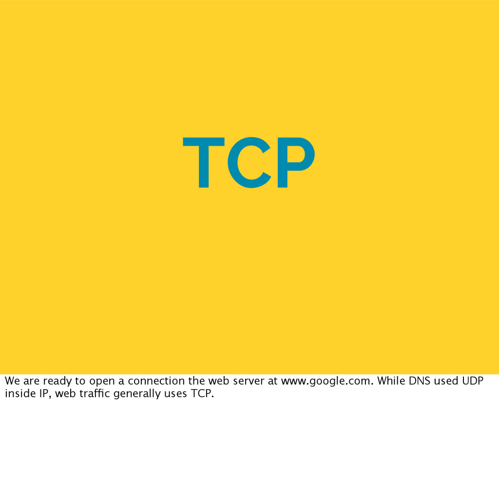 TCP We are ready to open a connection the web s...