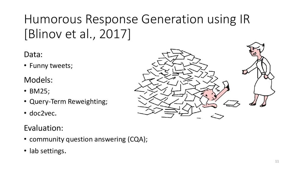 Humorous Response Generation using IR [Blinov e...