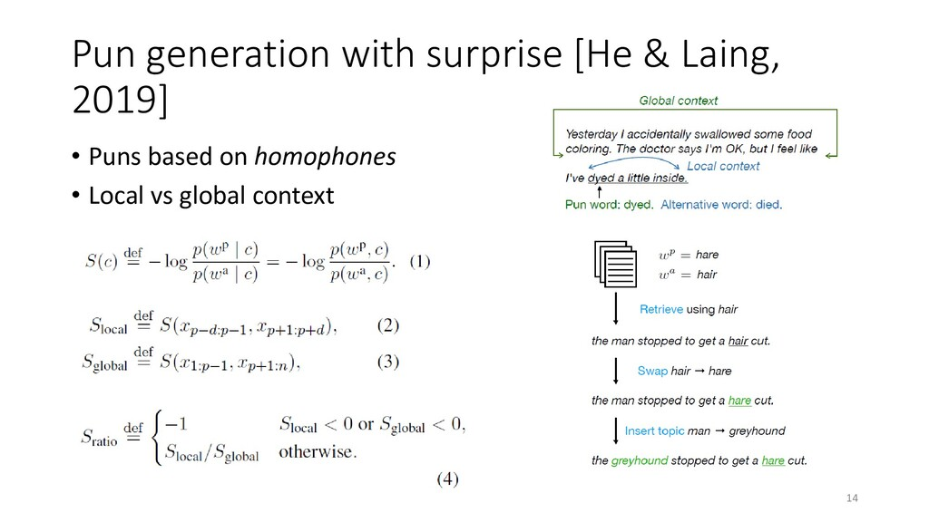Pun generation with surprise [He & Laing, 2019]...