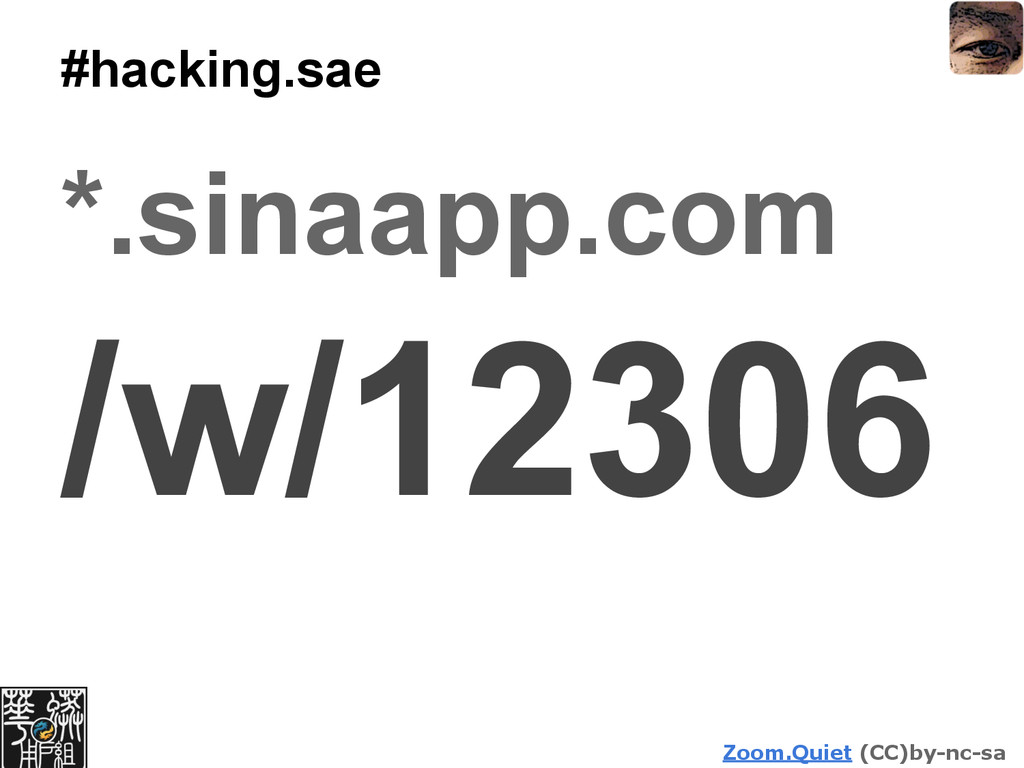 Zoom.Quiet (CC)by-nc-sa #hacking.sae *.sinaapp....