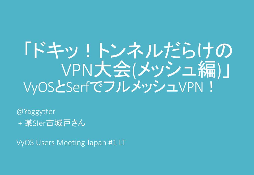 「ドキッ!トンネルだらけの VPN大会(メッシュ編)」 VyOSとSerfでフルメッシュVPN...