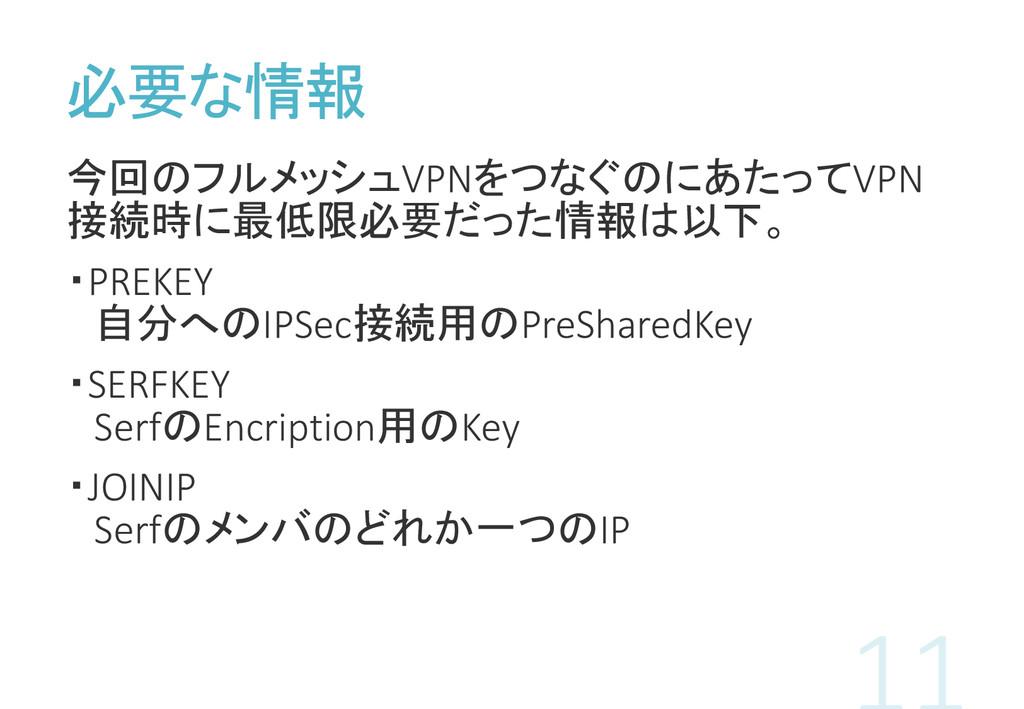 必要な情報 今回のフルメッシュVPNをつなぐのにあたってVPN 接続時に最低限必要だった情報は...