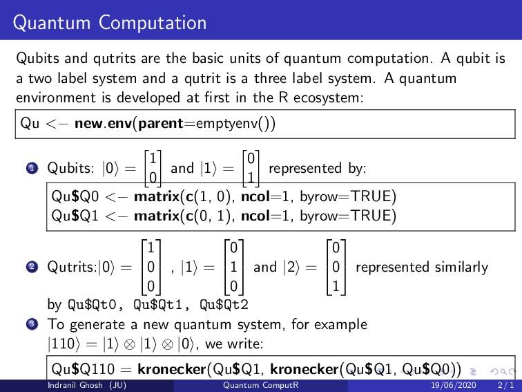 Quantum Computation Qubits and qutrits are the ...