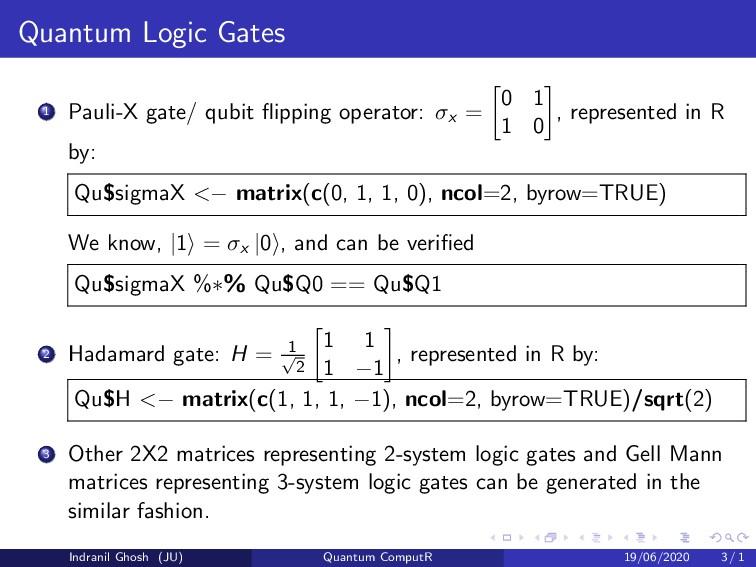 Quantum Logic Gates 1 Pauli-X gate/ qubit flippi...