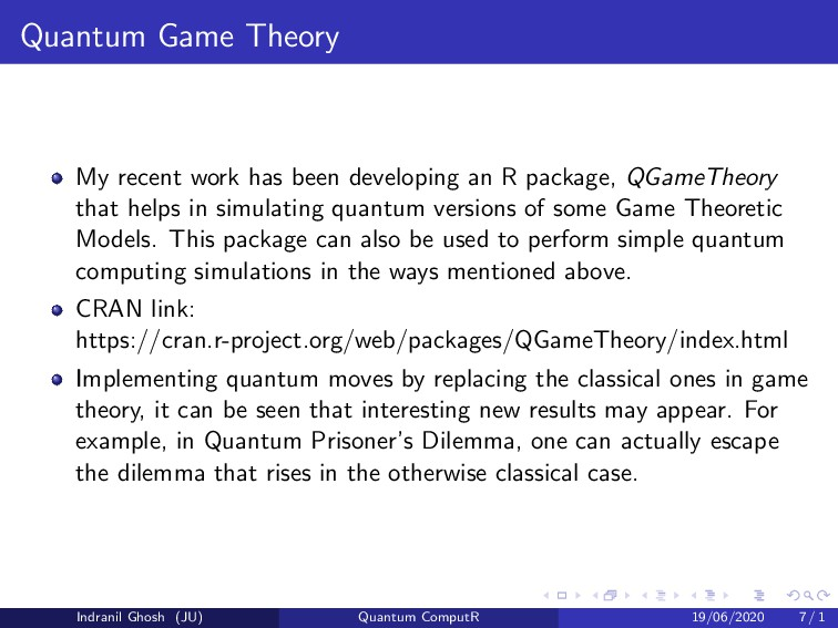 Quantum Game Theory My recent work has been dev...