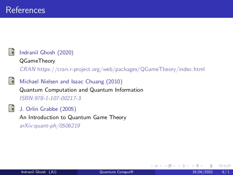 References Indranil Ghosh (2020) QGameTheory CR...