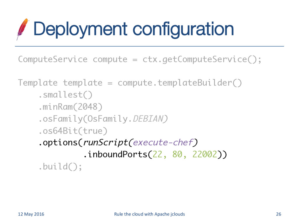Deployment configuration 12 May 2016 Rule the c...