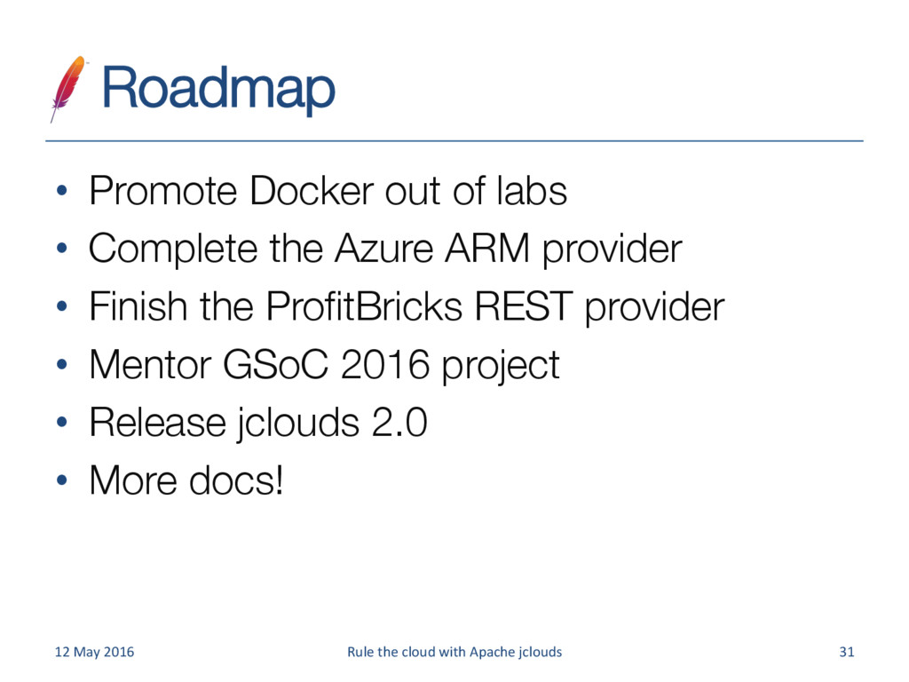 Roadmap • Promote Docker out of labs • Comp...