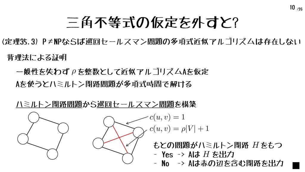 /26 10 三角不等式の仮定を外すと? (定理35.3) P≠NPならば巡回セールスマン問題...