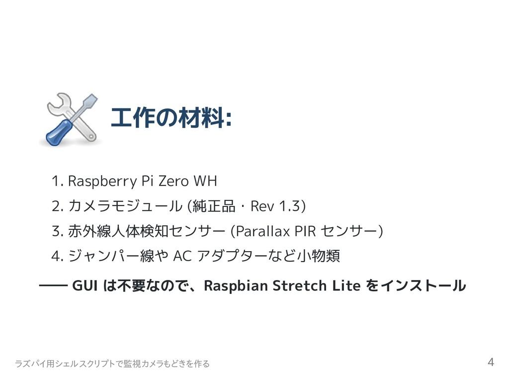 工作の材料: 1. Raspberry Pi Zero WH 2. カメラモジュール (純正品...