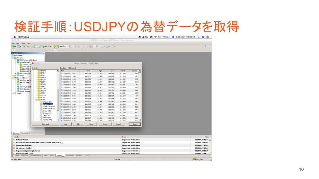 検証手順:USDJPYの為替データを取得 40