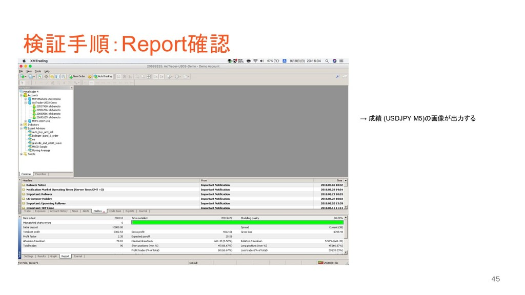 検証手順:Report確認 45 → 成績 (USDJPY M5)の画像が出力する
