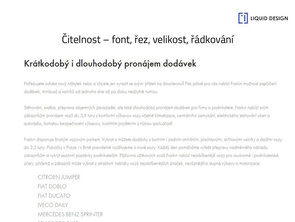 Čitelnost – font, řez, velikost, řádkování