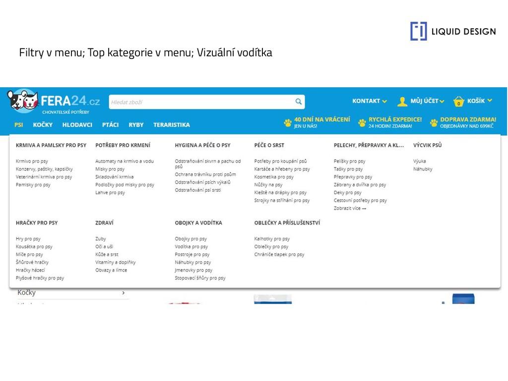 Filtry v menu; Top kategorie v menu; Vizuální v...