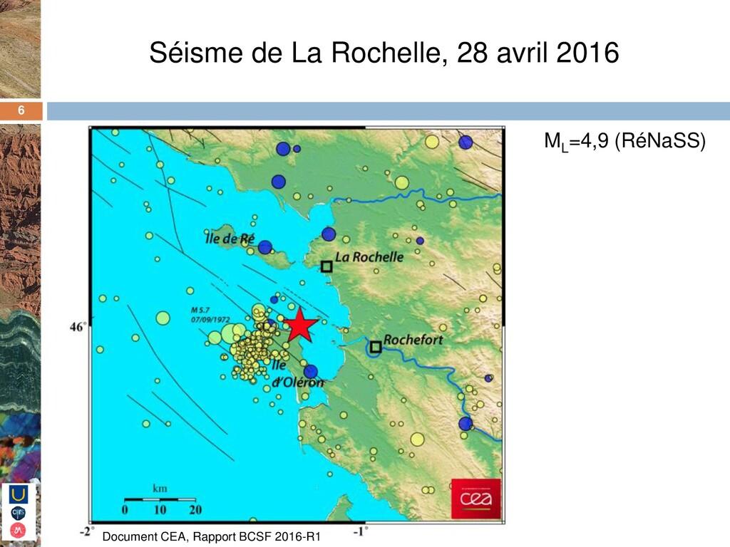 6 Séisme de La Rochelle, 28 avril 2016 ML =4,9 ...