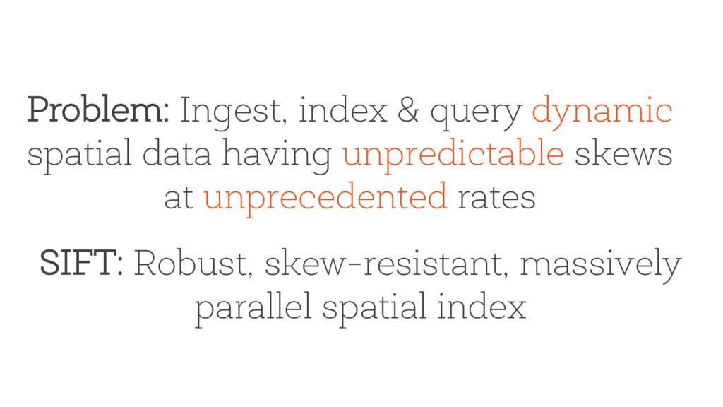 Problem: Ingest, index & query dynamic spatial ...