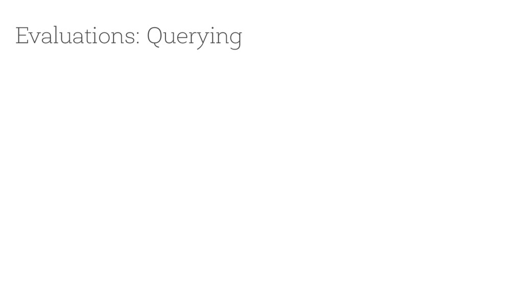Evaluations: Querying