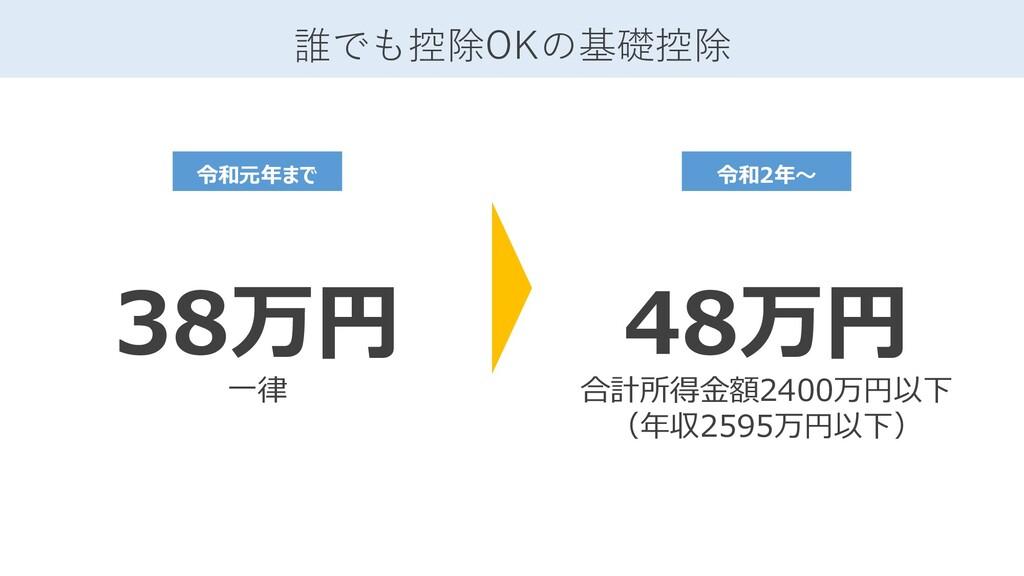 誰でも控除OKの基礎控除 38万円 一律 令和元年まで 48万円 合計所得金額2400万円以下...