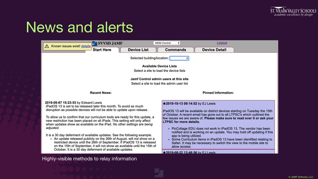 © JAMF Software, LLC News and alerts Highly-vis...