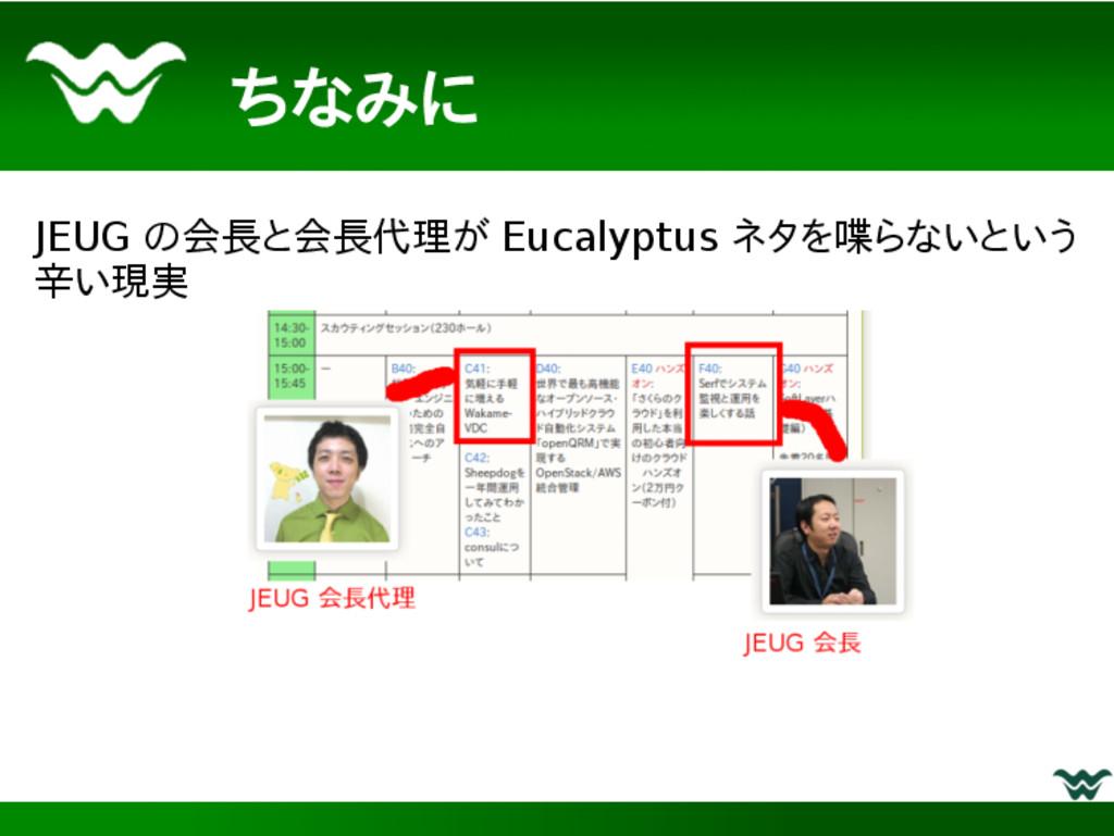ちなみに JEUG の会長と会長代理が Eucalyptus ネタを喋らないという 辛い現実