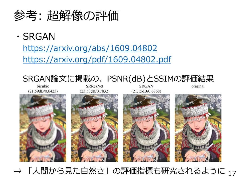 参考: 超解像の評価 17 ・SRGAN https://arxiv.org/abs/1609...