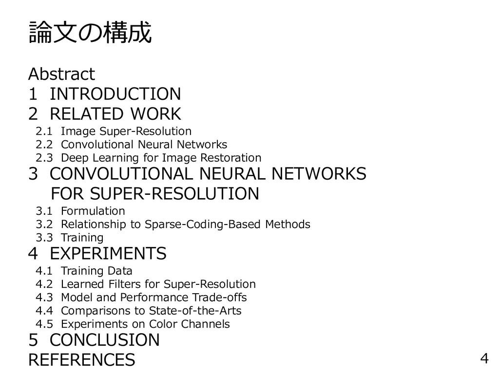 論文の構成 4 Abstract 1 INTRODUCTION 2 RELATED WORK ...