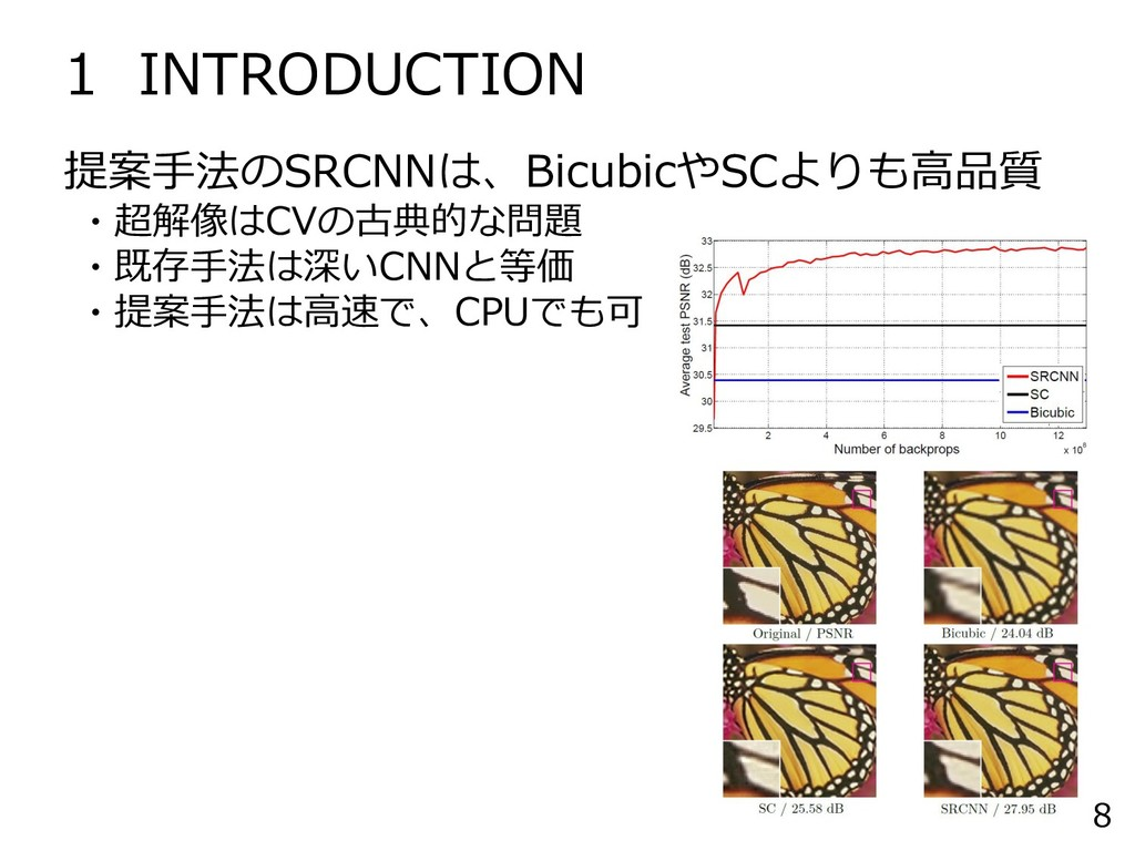 1 INTRODUCTION 8 提案手法のSRCNNは、BicubicやSCよりも高品質 ・...