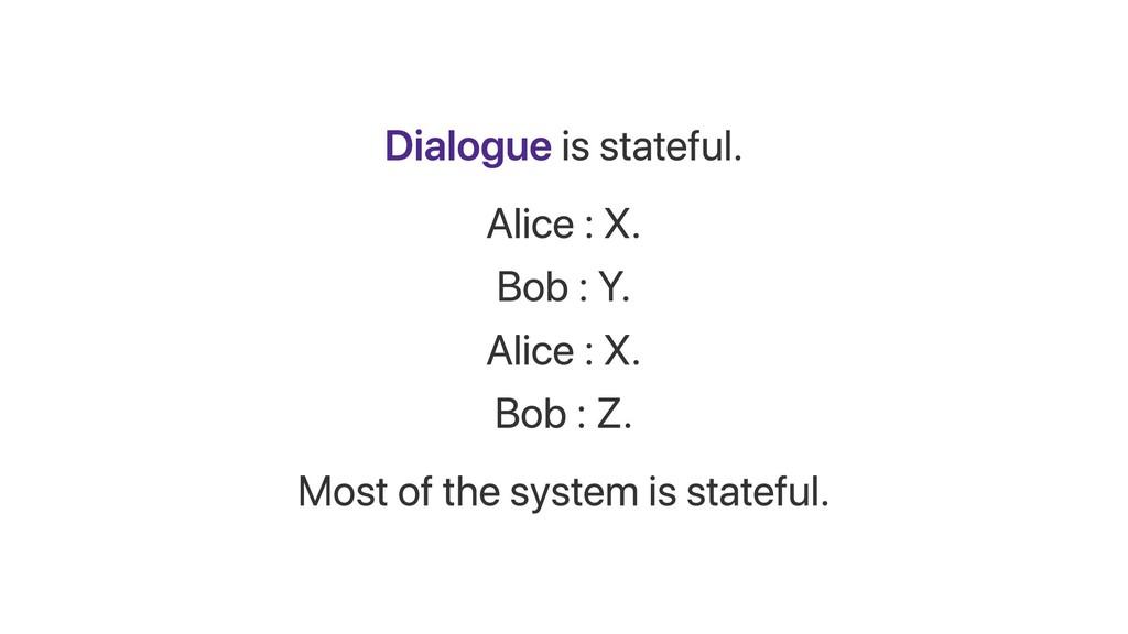 Dialogue is stateful. Alice : X. Bob : Y. Alice...