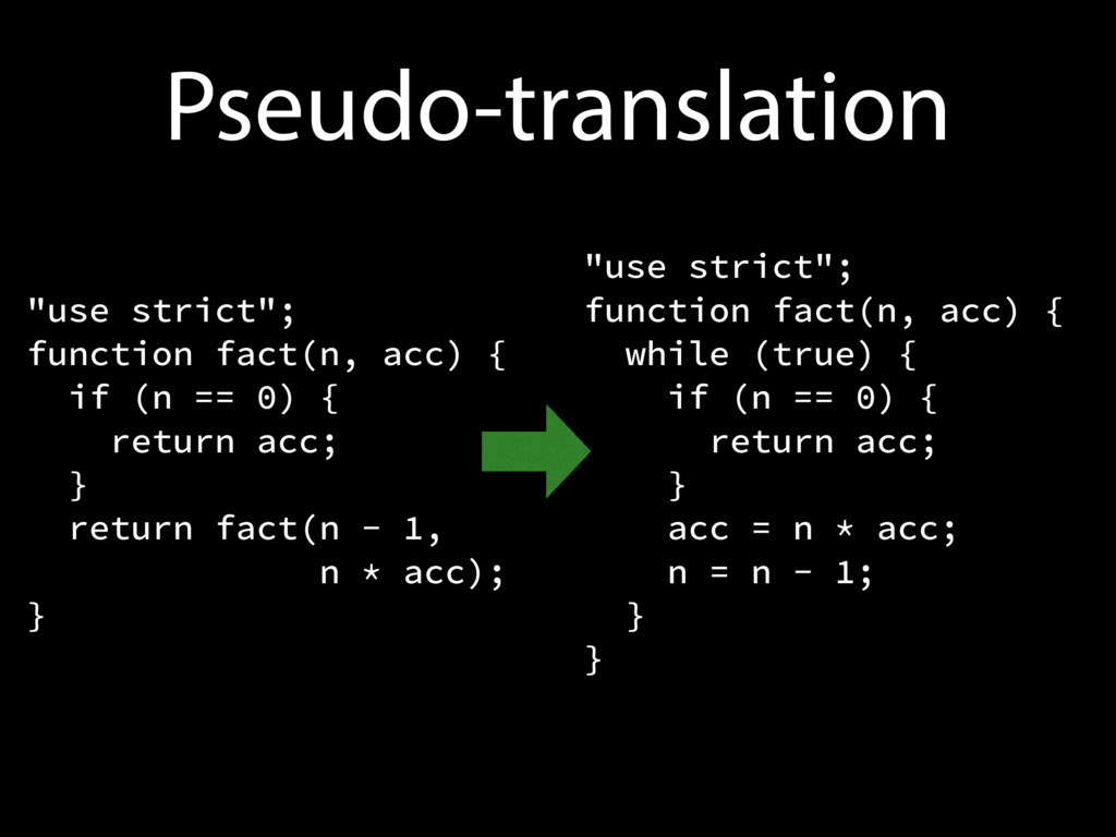 "Pseudo-translation ""use strict""; function fact(..."