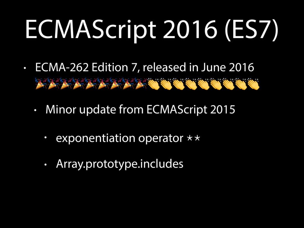 ECMAScript 2016 (ES7) • ECMA-262 Edition 7, rel...