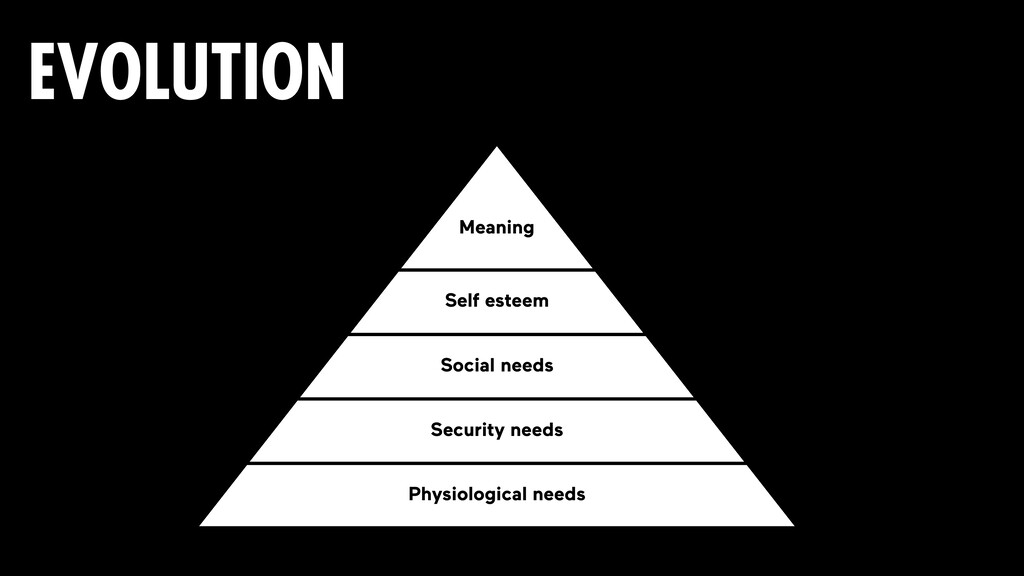 EVOLUTION Physiological needs Security needs So...